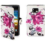 32nd Smartphone-Schutzh�lle / Handytasche f�r Samsung Galaxy S2 i9100, PU-Leder, Kreditkartenf�cher, Displayschutzfolie, Reinigungstuch Violett Violette / Rosa