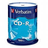 Verbatim 700 MB 52x 80 Minute Branded Recordable Disc CD-R, 100-Disc Spindle 94554