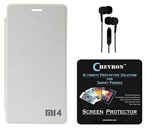 Chevron Flip Cover With Chevron HD Screen Guard & 3.5mm Stereo Earphones for Xiaomi Mi4 16GB (White)