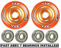 Yak Scat II Full Metal Core Wheel 110mm ORANGE with Abec 7 Bearings Installed (2-WHEELS)