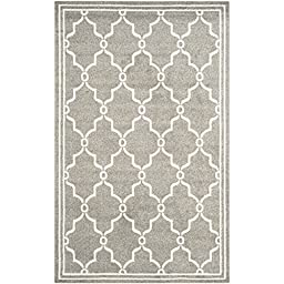 Safavieh Amherst Collection AMT414R Dark Grey and Beige Indoor/ Outdoor Area Rug, 5 feet by 8 feet (5\' x 8\')