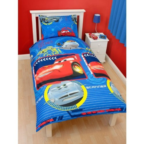 Boys Disney Cars Bedding Sheets Set (Twin Bed) (Blue/Red)