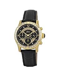 "JBW-Just Bling Women's JB-6237-H ""Venus"" Gold Black Designer Leather Diamond Watch"
