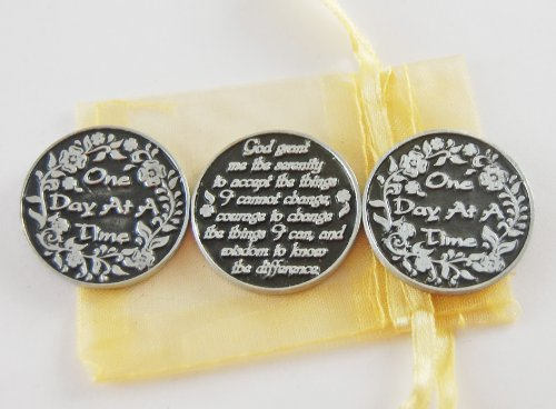 Set of 3 One Day at a Time/Serenity Prayer Pocket Token Coins with Organza Bag