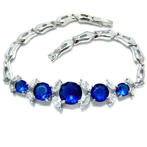 Fabulous Round Cut Sterling Silver Simulated Blue Sapphire Diamond Accent Bracelet