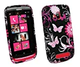 Kit Me Out UK IMD TPU Gel Case + Car Charger + Screen Protector with MicroFibre Cleaning Cloth for Nokia Lumia 610 - Black Pink Garden