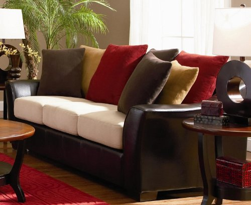 Discount Buy Sofa With Microfiber Seat Cushions In Dark Brown Leather Match  # 501891