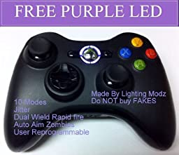 Xbox 360 Modded Controller 10 Mode Rapid Fire Wireless with Purple LED for Black Ops