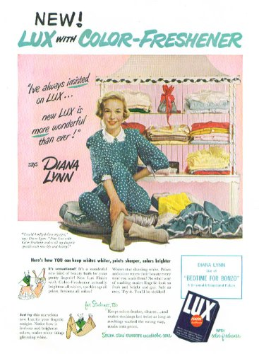 Diana Lynn For Lux Flakes Color-Freshener Ad 1951
