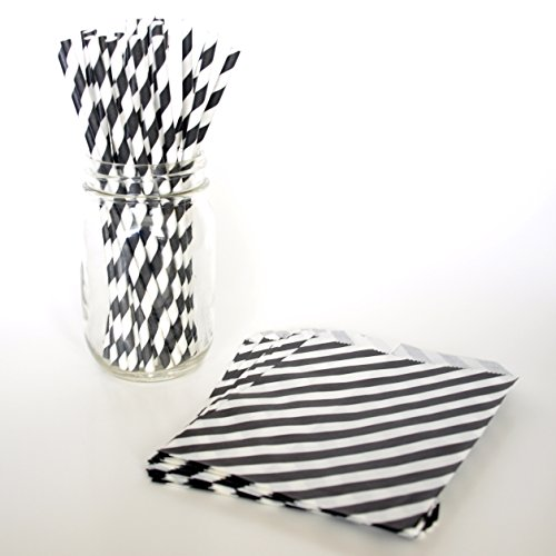 Small Favor Bags, Black Drinking Straws, Cute Gift Bags, Barber Striped Straws, 2 Combo Party Supply Kit - Black Striped back-875225