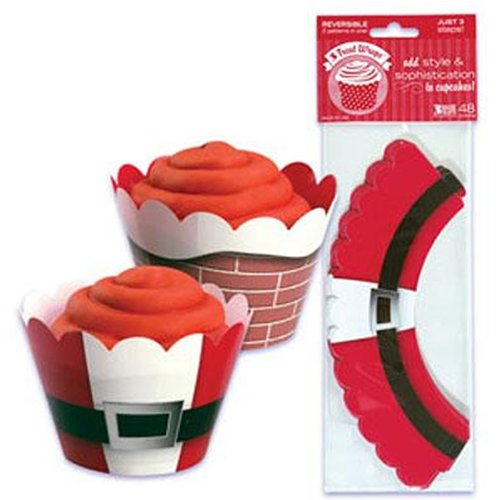 Reversible Christmas Santa Theme Cupcake Muffin Wrappers x 12