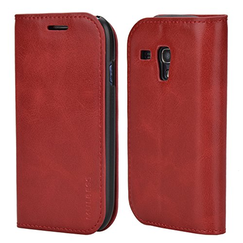 Samsung S3 Mini Case,Mulbess PU Leather Wallet Case With Kick Stand for Samsung Galaxy S3 Mini,Wine Red (Lining For Samsung Galaxy S3 Mini compare prices)