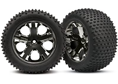"Traxxas 3770A Alias 2.8"" Pin Tires Assembled on All-Star Black-Chrome Wheels"