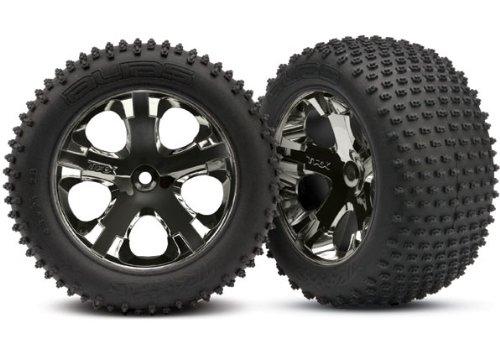 """Traxxas 3770A Alias 2.8"""" Pin Tires Assembled On All-Star Black-Chrome Wheels"""