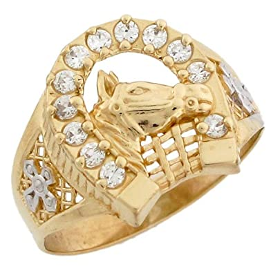 9ct Two Colour Solid Gold Horse Lucky Horseshoe CZ Mens Ring