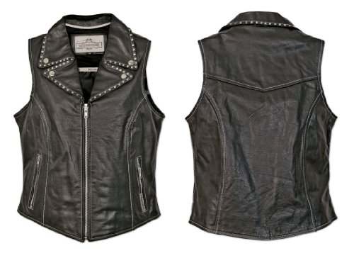 Milwaukee Motorcycle Clothing Company Front Zip Contrast Stitching Ladies Vest with Studded Collar (Black, XX-Large)