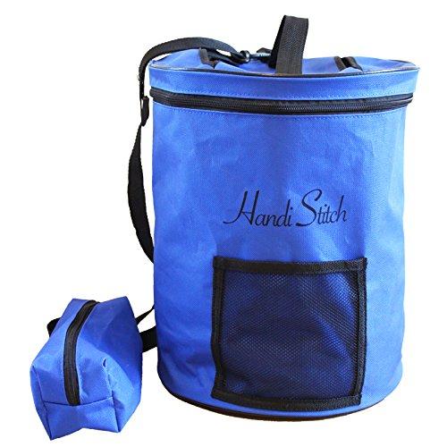 Handi-Stitch-Garn-Wolle-Aufbewahrungs-Trommel-Tasche-Zubehr-Etui-Aufbewahrung-der-StrickHkel-Accessoires-Tragbar-leicht-einfach-zu-transportieren-Blau