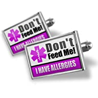 "Neonblond Cufflinks Medical Alert Purple ""I have Allergys"" - cuff links for man by NEONBLOND Jewelry & Accessories"