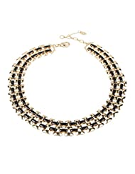 Amrita Singh Gold Black Metal Woven Bib Necklace(AN-137A-GD-BLK)