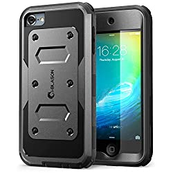 iPod Touch 6th Generation Case, [Heave Duty] i-Blason Apple iTouch 6 Case Armorbox [Dual Layer] Hybrid Fullbody Case w Front Cover and Builtin Screen Protector / Impact Resistant Bumper (Black)