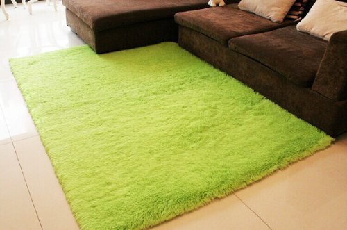Super Soft Modern Shag Area Rugs Living Room Carpet Bedroom Rug for Children Play Solid Home Decorator Floor Rug and Carpets 4- Feet By 5- Feet (Green)