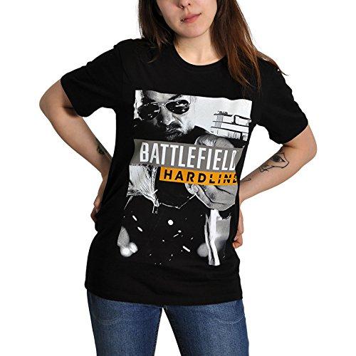 Battlefield - T-shirt tratta dal videogioco per PC con motivo Hardline - Grande motivo - Licenza ufficiale - Nero - XXL