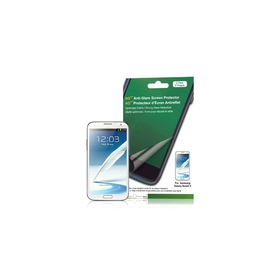 Green Onions Supply RT SPSGN202HD AG+ Anti Glare Screen Protector for Samsung Galaxy Note II   2 Pack   Retail Packaging   Clear