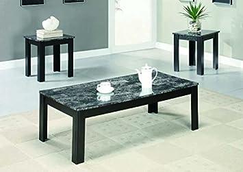 BLACK / GREY MARBLE-LOOK TOP 3PCS TABLE SET (SIZE: 44L X 22W X 15H)