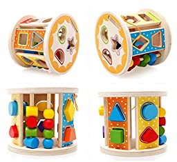 Joyeee® Wooden Baby Shape Color Recognition Intelligence Sorter - Cylinder Shaped Early Education Shape Colour & Number Sorting and Stacking Blocks Toy - Perfect Christmas Gift Idea