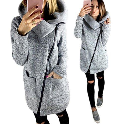Hot Sale!Elevin(TM)Womens Casual Hooded Jacket Coat Long Zipper Top Sweatshirt Outwear (XL, Gray)