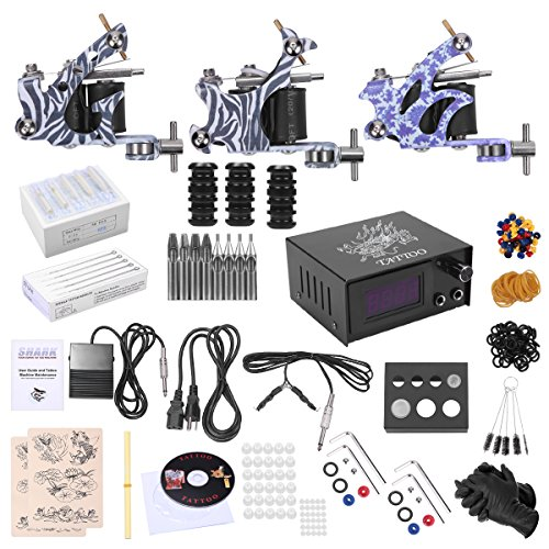SHARK Complete Professional Tattoo Kit 3 Machines Gun Power Supply Needles Grips Tips