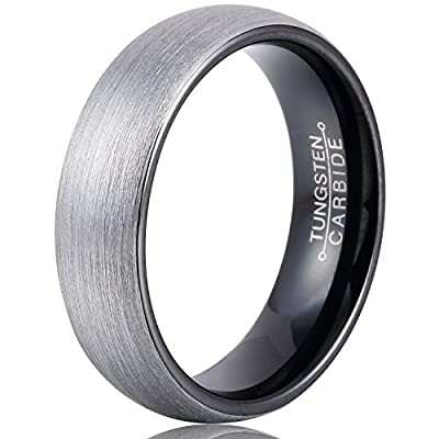 MNH Mens 6mm Comfort Fit Tungsten Carbide Wedding Band Black Brushed Matte Finish Rings Size 7-13