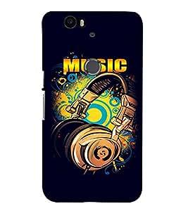 Fuson Premium Music Printed Hard Plastic Back Case Cover for Huawei Nexus 6P