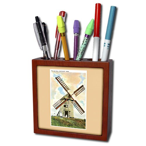 Ph_170224_1 Bln Vintage Us Cities And States Postcards - The Old Mill, Nantucket Old Windmill With Children - Tile Pen Holders-5 Inch Tile Pen Holder front-55849