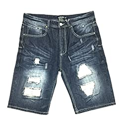 Parish Nation Dark Stone Wash Denim Shorts (36)