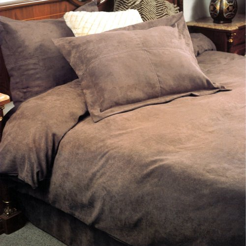 Lcm Home Fashions Lcm Home Fashions Oversize Microsuede Saddle Duvet Set, Taupe, 100% Polyester, Queen
