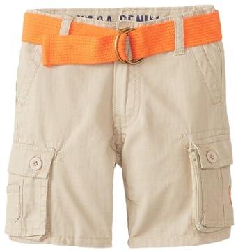 U.S. Polo Assn. Little Boys' Belted Ripstop Cargo Short, Light Khaki, 3T