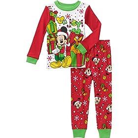 Mickey Mouse Pluto Little Boys Toddler Christmas Cotton Pajama Set (2T)