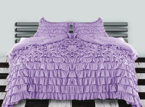 600 Tc 3 Pc Queen / Full Size Waterfall Ruffle Duvet Set In Solid Lavender By Jay'S Home Goods front-652931