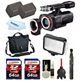 Sony NEX-VG900 Full-Frame Camcorder (Black) + Vanguard Bag + Two Batteries + LED + Two 64GB Cards + Lens Cleaning System + Giotto's Blower