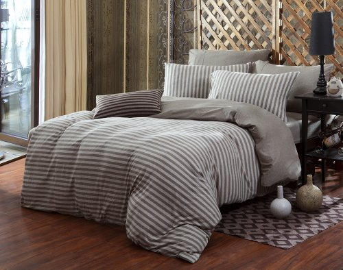 4Pc Duvet Cover Set Jersey Cotton Brown Striped Color Queen Size front-1058249