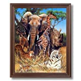 Elephant Giraffe Rhino African Wildlife Wall Picture Cherry Framed Art Print