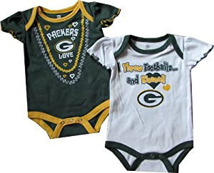Green Bay Packers 2pc Creeper Set 3 - 6 Months GIRLS Kisses