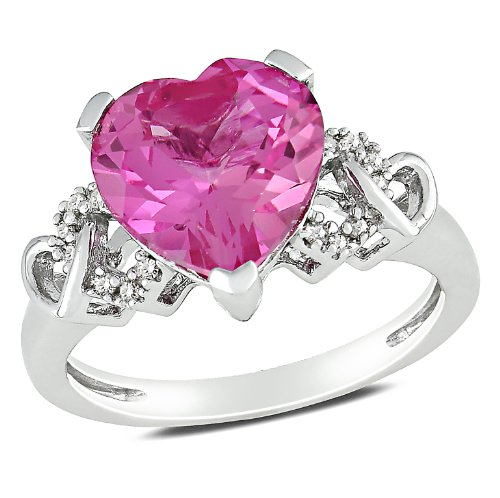 Sterling Silver 4 1/5 CT TGW Created Pink Sapphire 0.06 CT TDW Diamond Heart Ring (G-H, I2-I3)