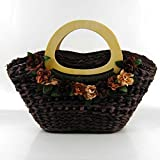 Women Cute Wooden Handle Straw Bag Beach Tote Bag Rattan Handbag