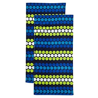 Basic Dot 2pc Beach Towel Set - Blue