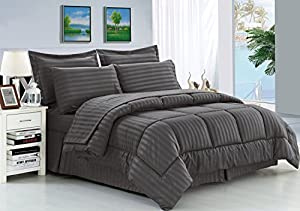 Elegance Linen® Wrinkle Resistant - Luxury Silky Soft Dobby Stripe Bed-in-a-Bag 8-Piece Comforter Set --HypoAllergenic - Full/Queen, Gray
