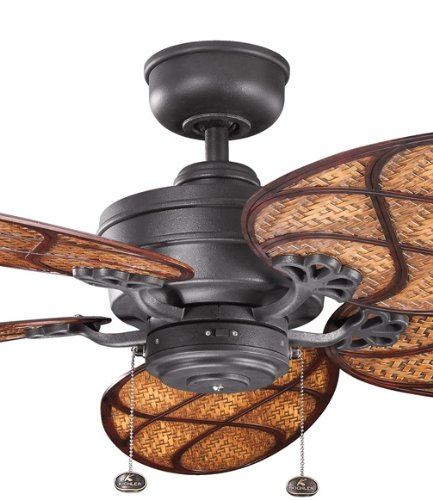 Kichler Lighting 320510Dbk Crystal Bay Climates 52-Inch Wet Location Ceiling Fan, Distressed Black Finish (Blades Sold Separately)