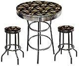 San Francisco Giants MLB Baseball Glass Top Chrome Bar Pub Table Set With 2 Swivel Bar Stools
