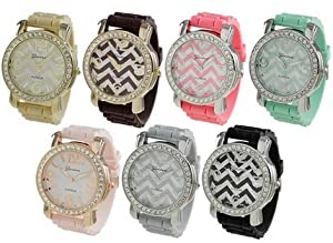 Geneva Platinum Chevron Design Silicone Watch - Beige